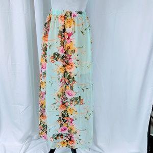 Love Culture Floral Chiffon Maxi Skirt